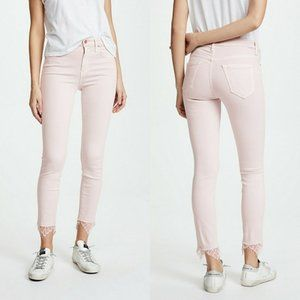 Mother High Waisted Looker Dagger Ankle Fray Jeans